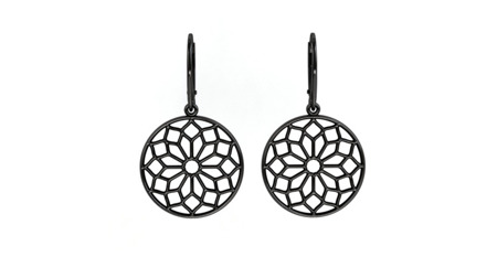 Kolczyki srebrne Chartres Black